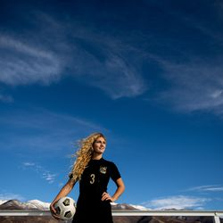 Davis High School's Grace Nicol poses for a photo at her school in Kaysville on Tuesday, Nov. 17, 2020. Nicol is the Deseret News' 2020 Ms. Soccer.