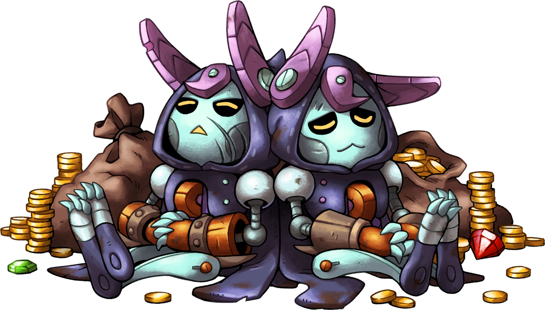 Heroes from SteamWorld Quest sleep on a pile of coins