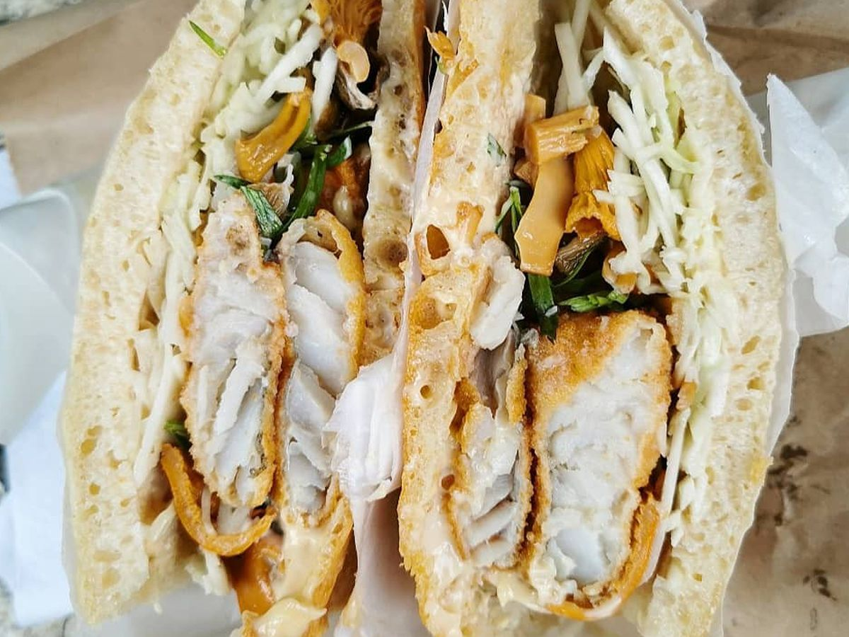 A hot fish finger sandwich at 40 Maltby Street