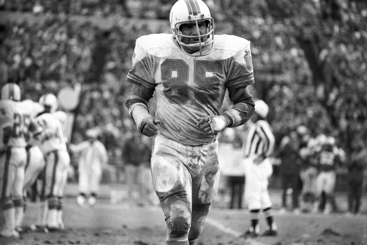 Nick Buoniconti, Miami Dolphins middle linebacker,during an NFL football game against the New York Jets.