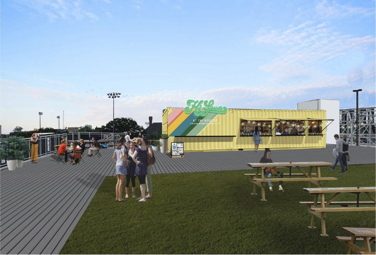 A rendering of Hi-Lawn shows a yellow shipping container bar and picnic tables on a turf lawn atop Union Market