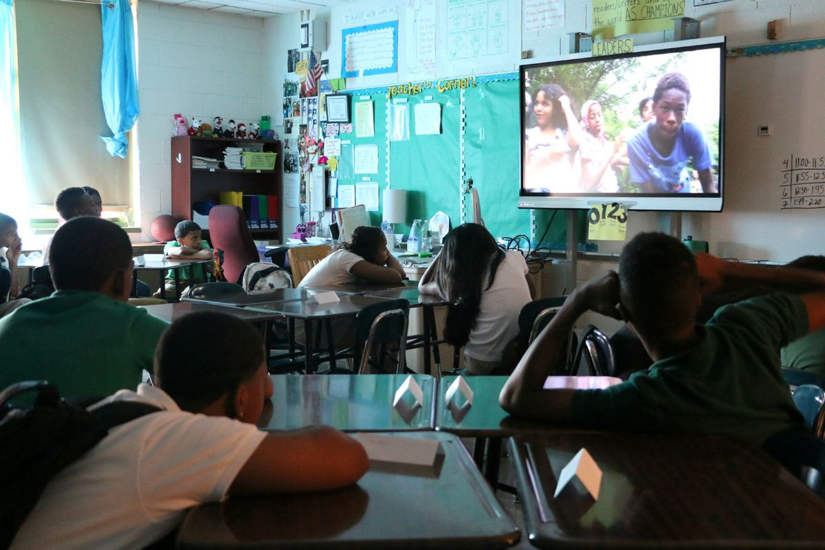 Corbitt showed a video of last year's seventh-grade class to inspire his new students.