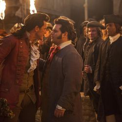 """Luke Evans is Gaston and Josh Gad is LeFou, in Disney's """"Beauty and the Beast."""""""