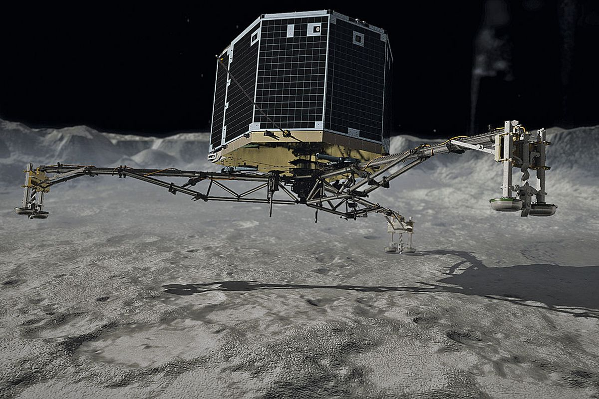 A rendering of Philae's touchdown.