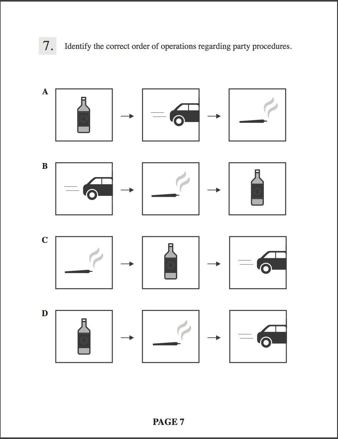 Identify the correct order of operations regarding party procedures.   The answers are all icons. One is a bottle for sippin on gin and juice, one is a car, for rollin down the street, and one is a joint for smoking indo. Answers: A, bottle, car, joint; B
