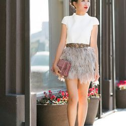"""Wendy of <a href=""""http://www.wendyslookbook.com/"""">Wendy's Lookbook</a> is wearing a Tara Jarmon top, a Topshop skirt, <a href=""""http://www.farfetch.com/shopping/women/gianvito-rossi-embellished-pointed-toe-pump-item-10341501.aspx"""">Gianvito Rossi</a> shoes,"""