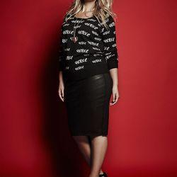 Sweatshirt, $54.50; faux leather midi skirt, $58.50