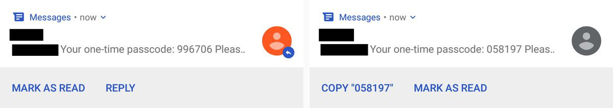 Android Messages now makes it really easy to copy two-factor