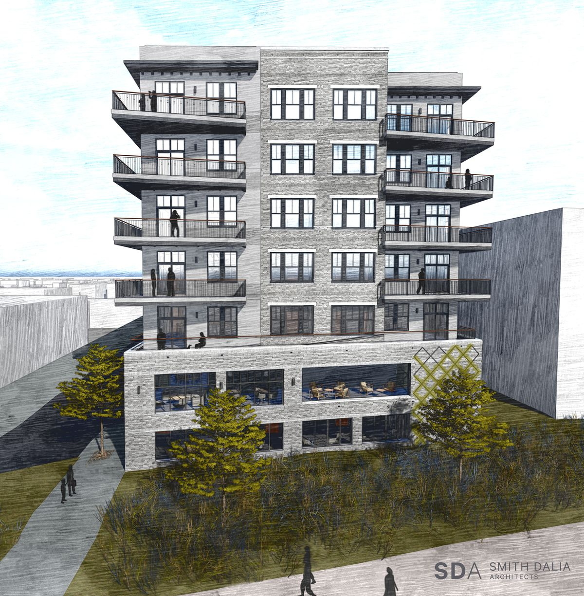 A rendering shows two floors of amenity space fronting the Beltline, topped by five stories of residences.