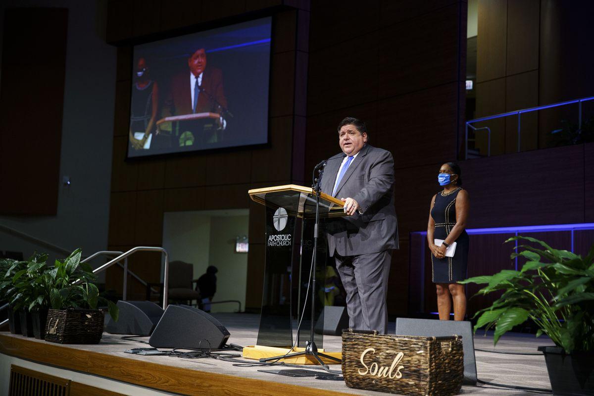 Gov. J.B. Pritzker speaks at the Apostolic Faith Church during the Census Gospel Sunday Concert in September.