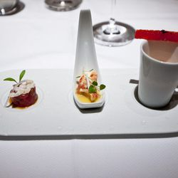 """Amuse-bouche (Tuna Tartare, Barely Cooked Lobster, Watermelon Gazpacho) from Le Bernardin by <a href=""""http://www.flickr.com/photos/nicknamemiket/7821154924/in/pool-eater/"""">nicknamemiket</a>"""