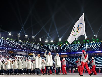 Olympic Athletes from Russia (OARs) enter the stadium during the opening ceremony of the Pyeongchang 2018 Winter Olympic Games at Pyeongchang Olympic Stadium on February 9, 2018, in Pyeongchang-gun, South Korea.