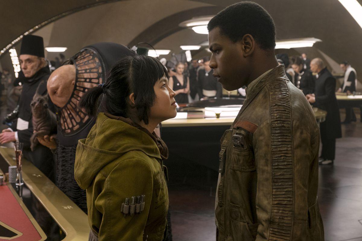 Rose (Kelly Marie Tran) and Finn (John Boyega)