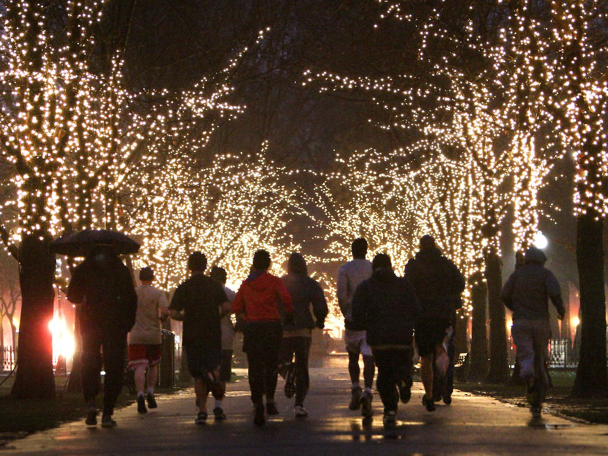 People running in a clump through the night between two lines of a lighted-up trees.