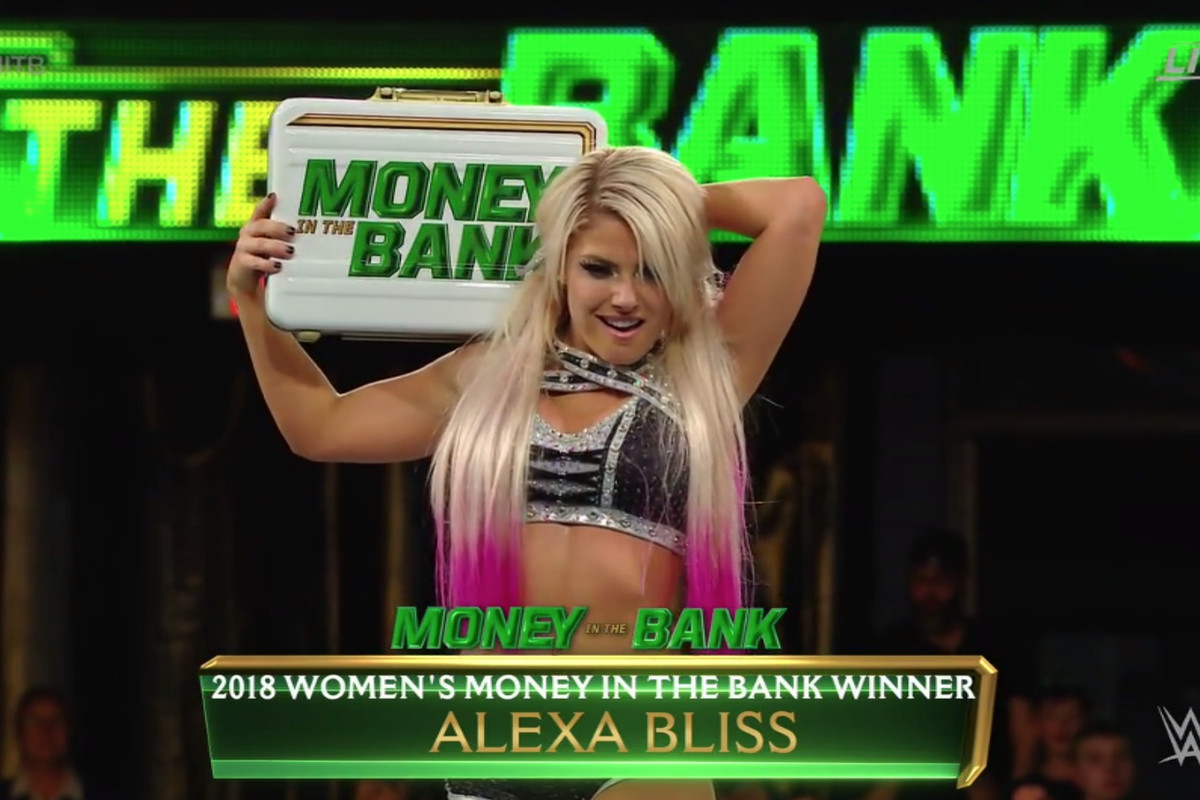 wwe money in the bank 2018 alexa bliss wins the women s ladder