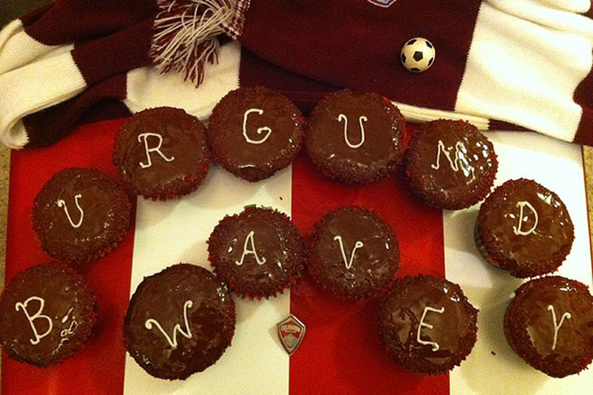 Burgundy Wave Birthday Cupcakes