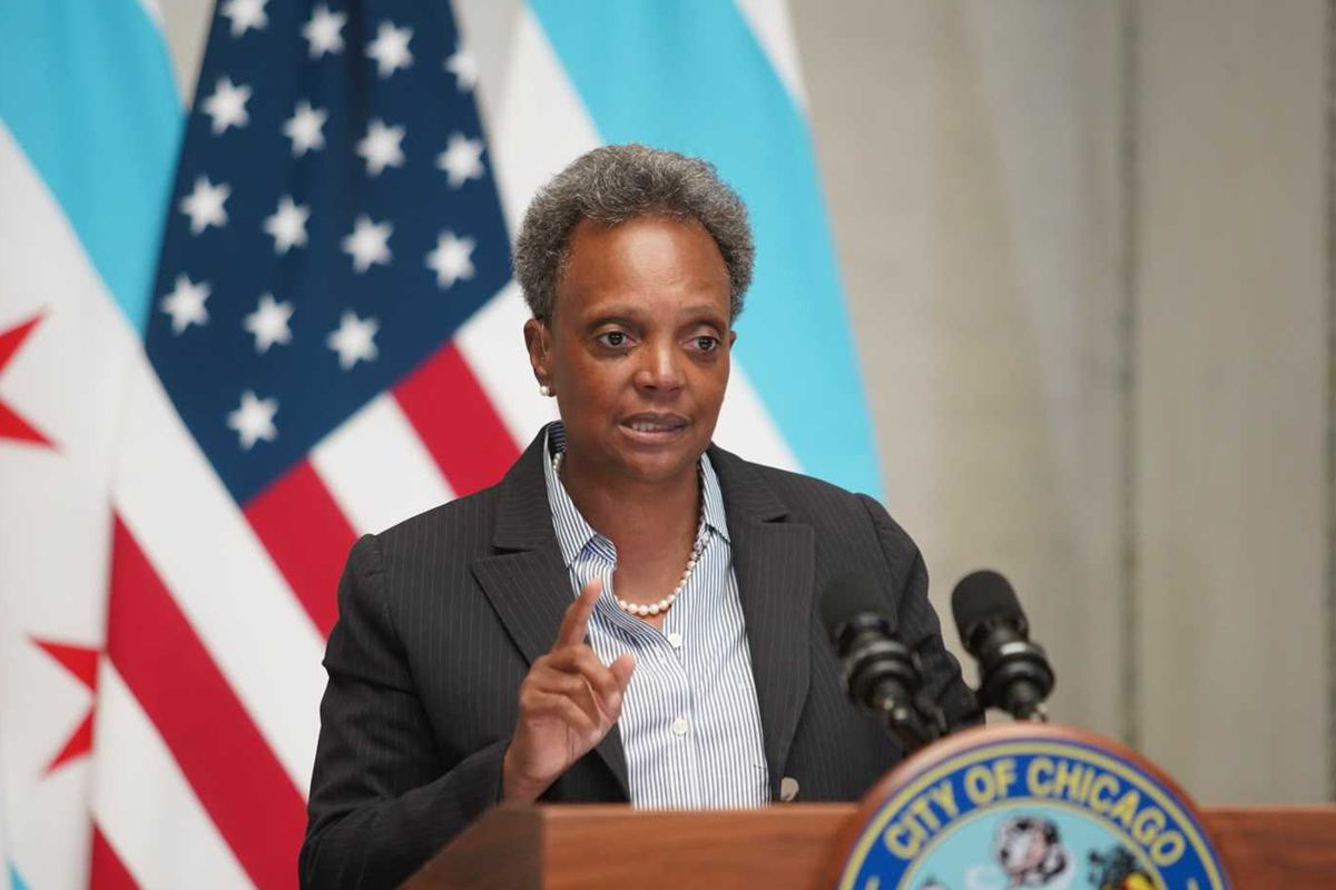 Mayor Lori Lightfoot spoke Monday at the Chicago Cultural Center.