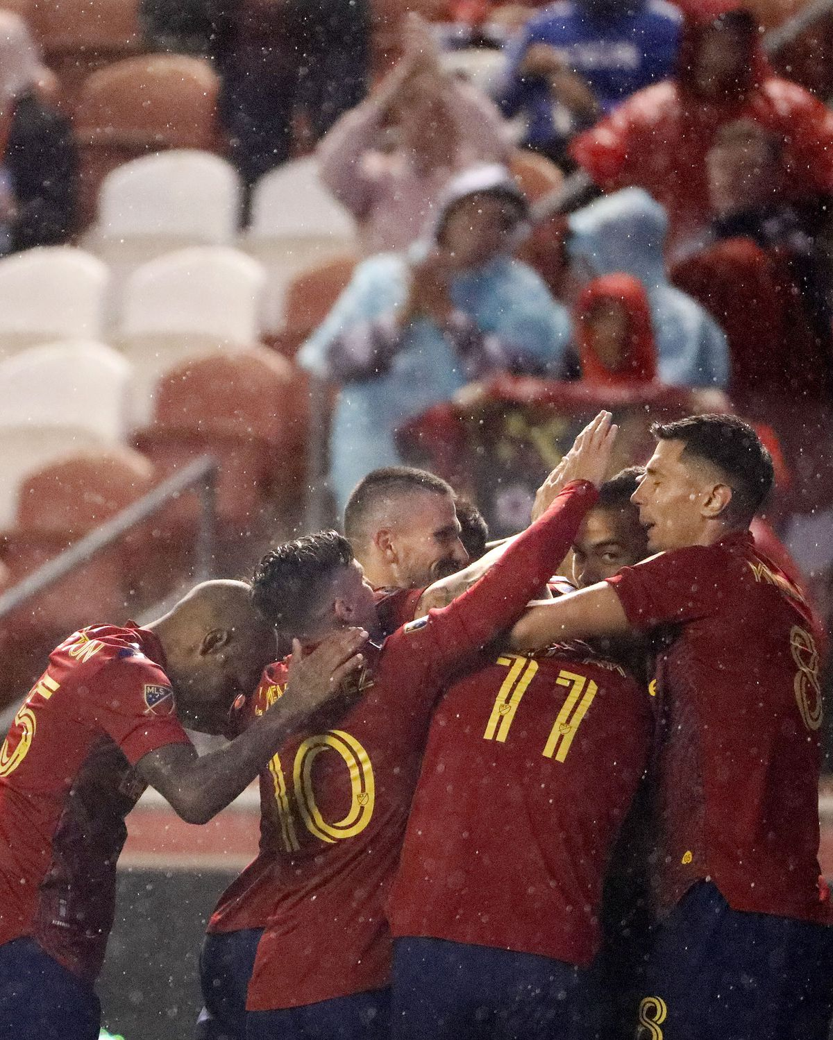 Real Salt Lake celebrates after Justin Meram scores against Houston Dynamo during a soccer game at Rio Tinto Stadium in Sandy on Wednesday, Aug. 18, 2021.