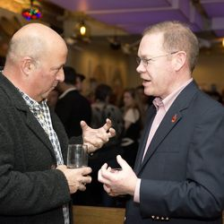 Bizarre Foods' Andrew Zimmern and Woodford Reserve master distiller Chris Morris