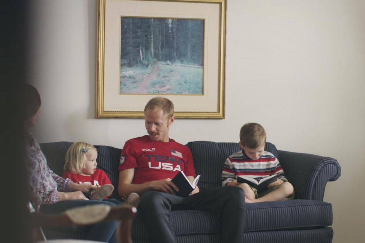 Jared Ward reads the Book of Mormon in a new Olympic Channel video with his wife and children.