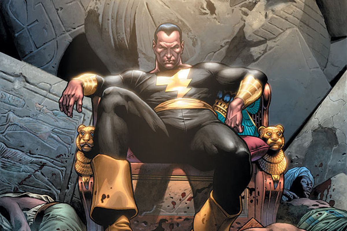 Black Adam, arch-nemesis of Shazam, reclines on a throne, surrounded by bodies, on the cover of 52 #45, DC Comics (2007).