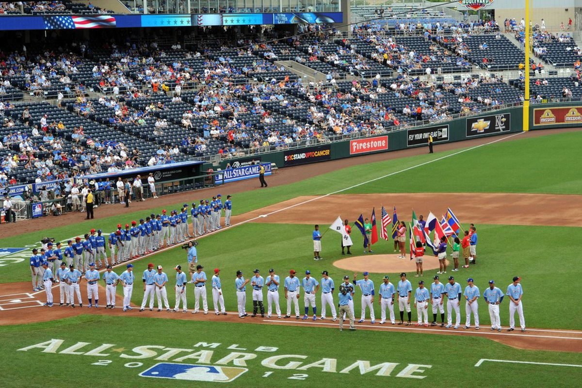 July 8, 2012; Kansas City, MO, USA; A general view as the USA and World teams line up for the national anthems before the 2012 All Star Futures Game at Kauffman Stadium.  Mandatory Credit: Peter G. Aiken-US PRESSWIRE