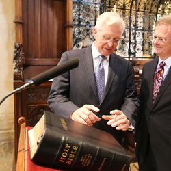 Elder D. Todd Christofferson, of the Quorum of the Twelve Apostles of The Church of Jesus Christ of Latter-day Saints, gets a tour from Philip Tootill at Christ Church, Oxford University, Cathedral prior to speaking in Oxford, England, on Thursday, June 15, 2017.