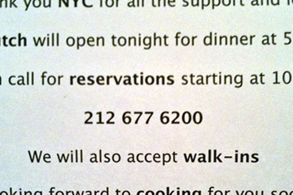 The Dutch Opens for Dinner Tonight, Now Taking Resys - Eater NY