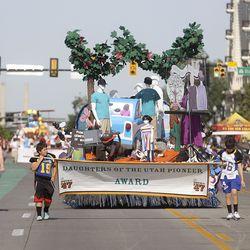 The Latter-day Saint West Jordan Utah Jordan Oaks Stake float makes its way along the Days of '47 Parade route in Salt Lake City on Friday, July 23, 2021. The float won the Daughters of Utah Pioneers Award.