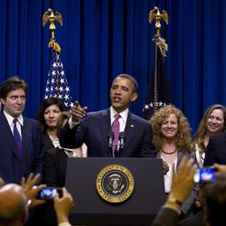 President Barack Obama speaks about the Buffett Rule, Wednesday, April 11, 2012, in the Eisenhower Executive Office Building on the White House complex in Washington.