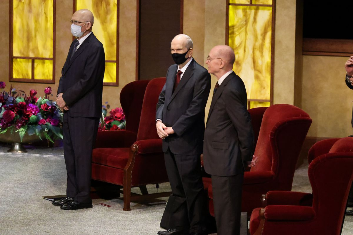 The First Presidency — President Russell M. Nelson, center, President Dallin H. Oaks, first counselor, left, and President Henry B. Eyring, second counselor, right — stand before the Sunday morning session of the 190th Semiannual General Conference of The Church of Jesus Christ of Latter-day Saints on Oct. 4, 2020.