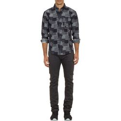 Patchwork-Pattern Raw Denim Shirt, $165