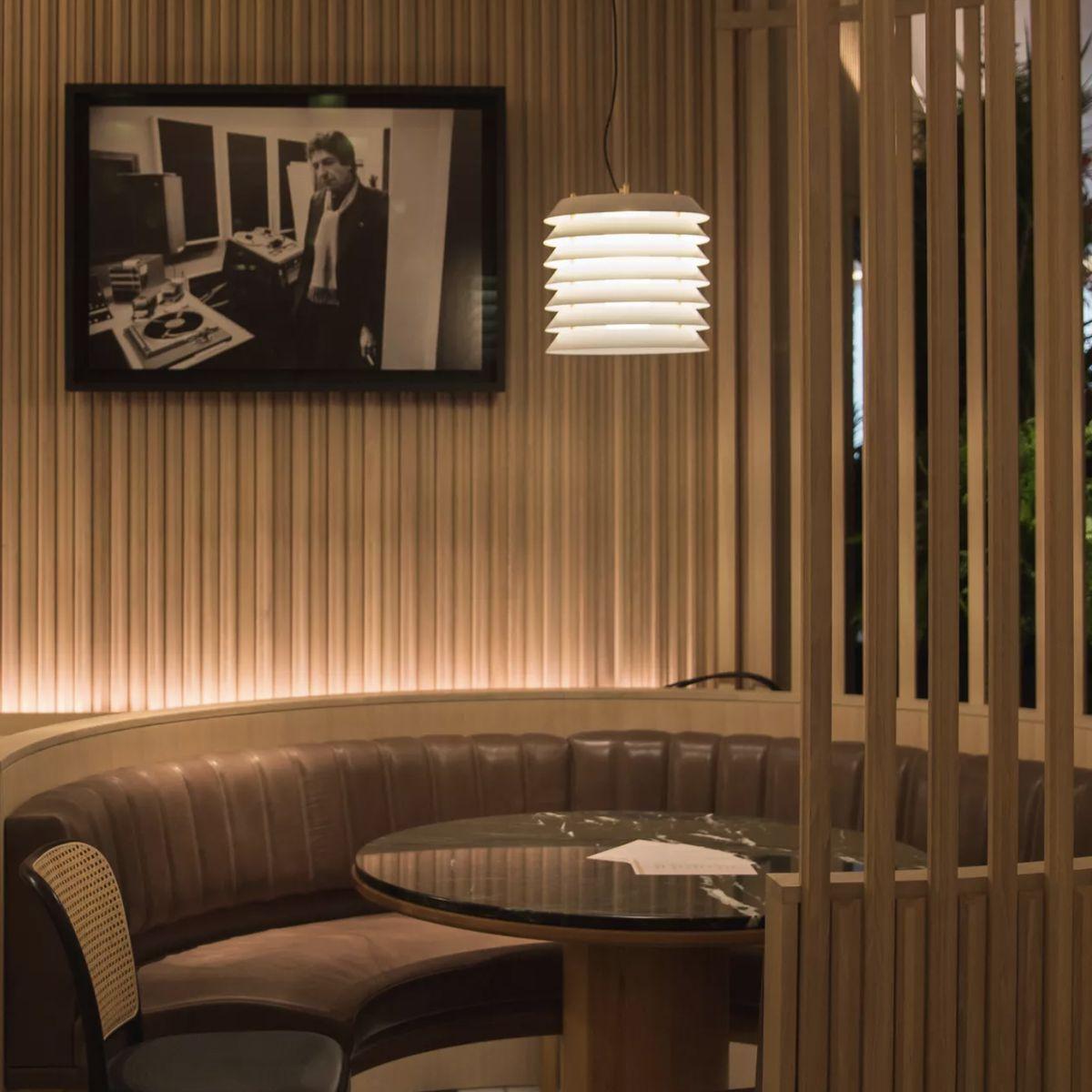 Dimly lit restaurant booth in upscale restaurant