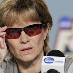 Baylor coach Kim Mulkey answers questions for the media about her Bells Palsy diagnosis during a news conference, Monday, April 2, 2012, in Denver. Baylor will play Notre Dame for the women's NCAA championship basketball game on Tuesday. (AP Photo/Julie Jacobson)