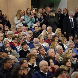 Voters listen during a Utah Republican caucus at Brighton High School in Salt Lake City on Tuesday, March 22, 2016.
