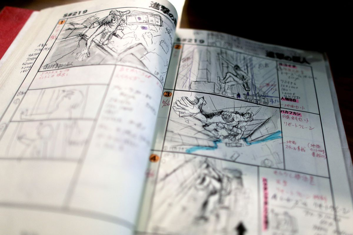 A storyboard from director Shinji Higuchi's film Attack on Titan is pictured in Toho Studios on July 11, 2014, in Tokyo, Japan.