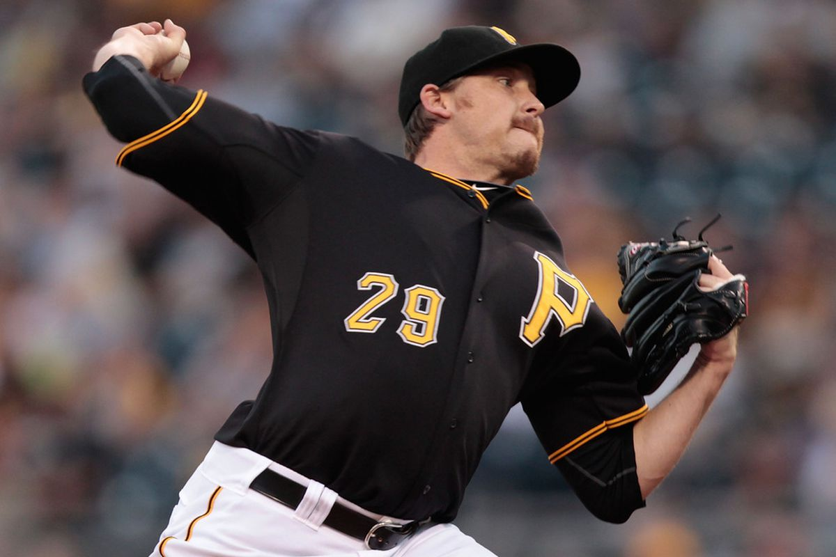 PITTSBURGH - AUGUST 19:  Kevin Correia #29 of the Pittsburgh Pirates pitches against the Cincinnati Reds during the game on August 19, 2011 at PNC Park in Pittsburgh, Pennsylvania.  (Photo by Jared Wickerham/Getty Images)