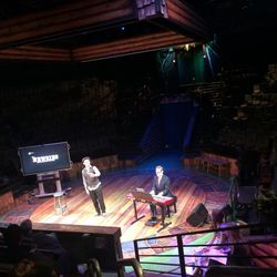 """Matthew Clark Richards sings """"Santa Fe"""" from """"Newsies"""" during an event announcing Hale Centre Theatre's 2018 season to donors and media on March 7."""