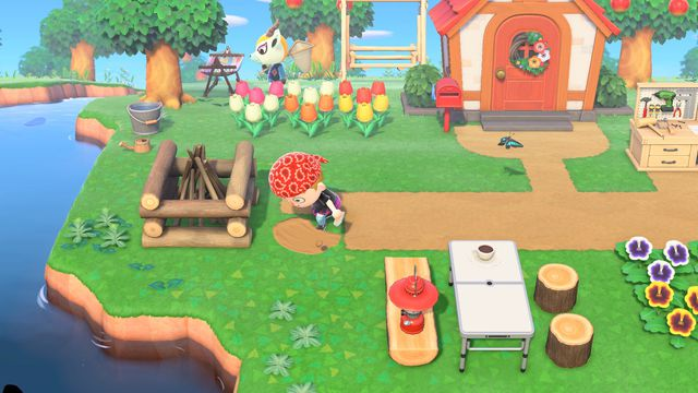 A villager shovels a path in a screenshot from Animal Crossing: New Horizons.