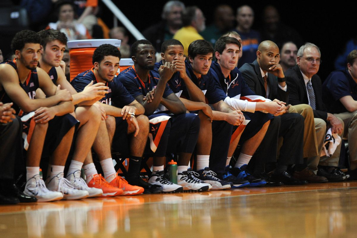 The UVA bench during the second half of their 87-52 loss to Tennessee was predictably displeased