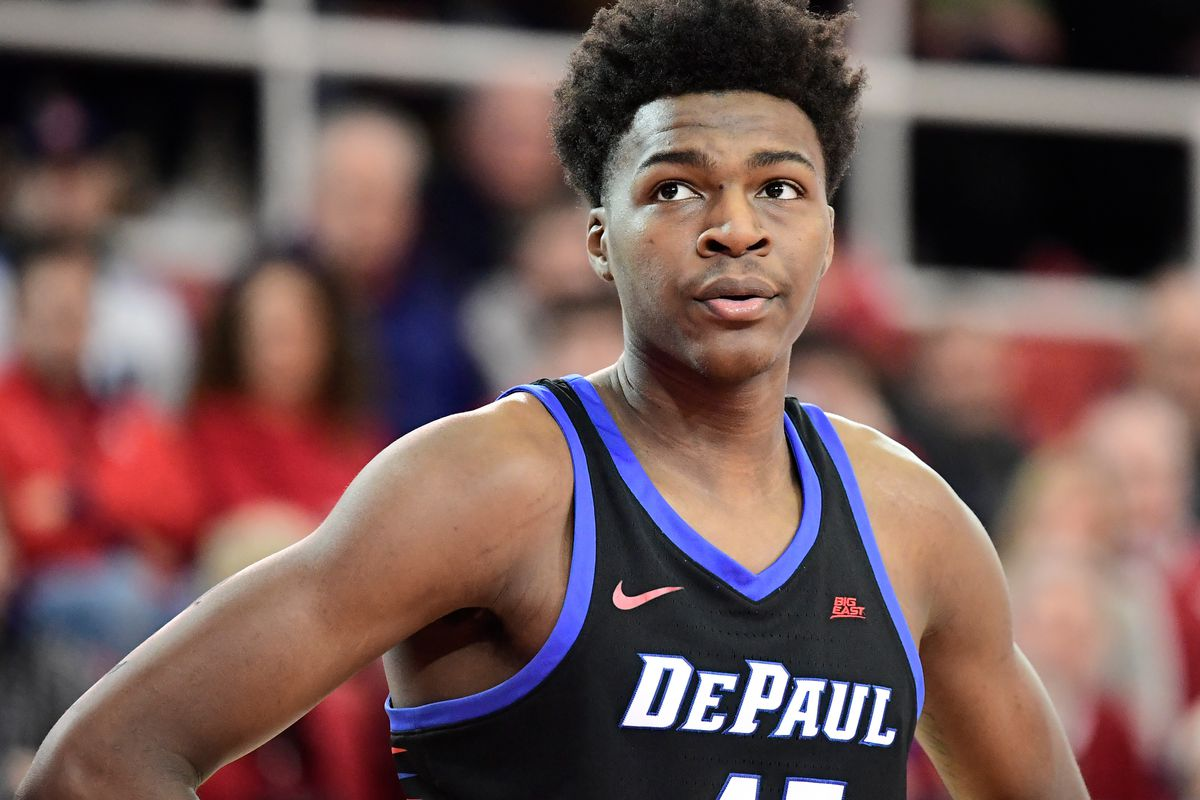Paul Reed of the DePaul Blue Demons looks on against the St. John's Red Storm during an NCAA Men's basketball game at Carnesecca Arena