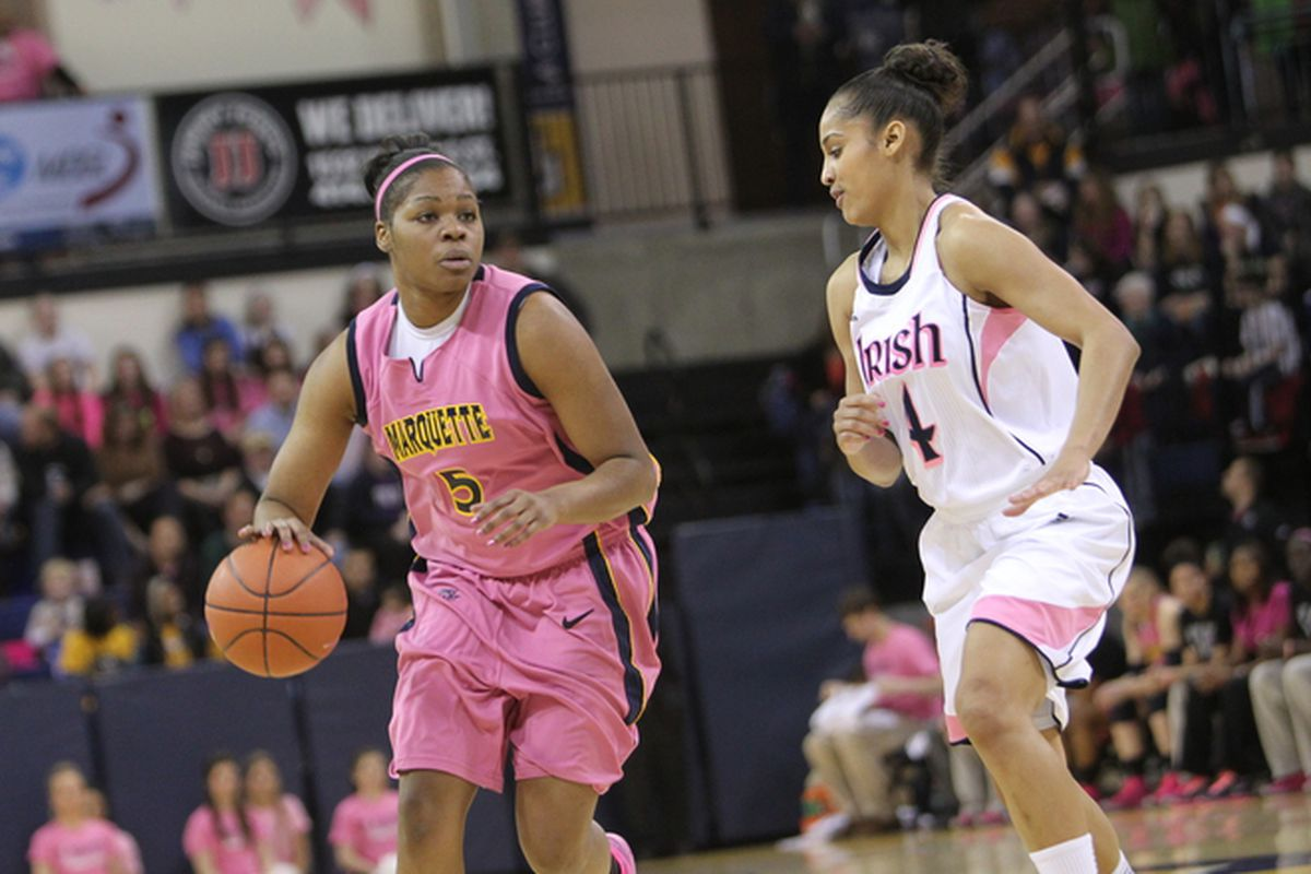 Skylar Diggins, seen here guarding MU's Katie Young, is AE's pick for BE POY.