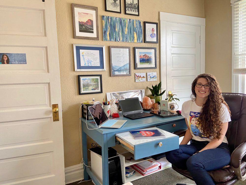 Melea Mayen, a teacher at Denver's Northfield High School, in her home workspace.