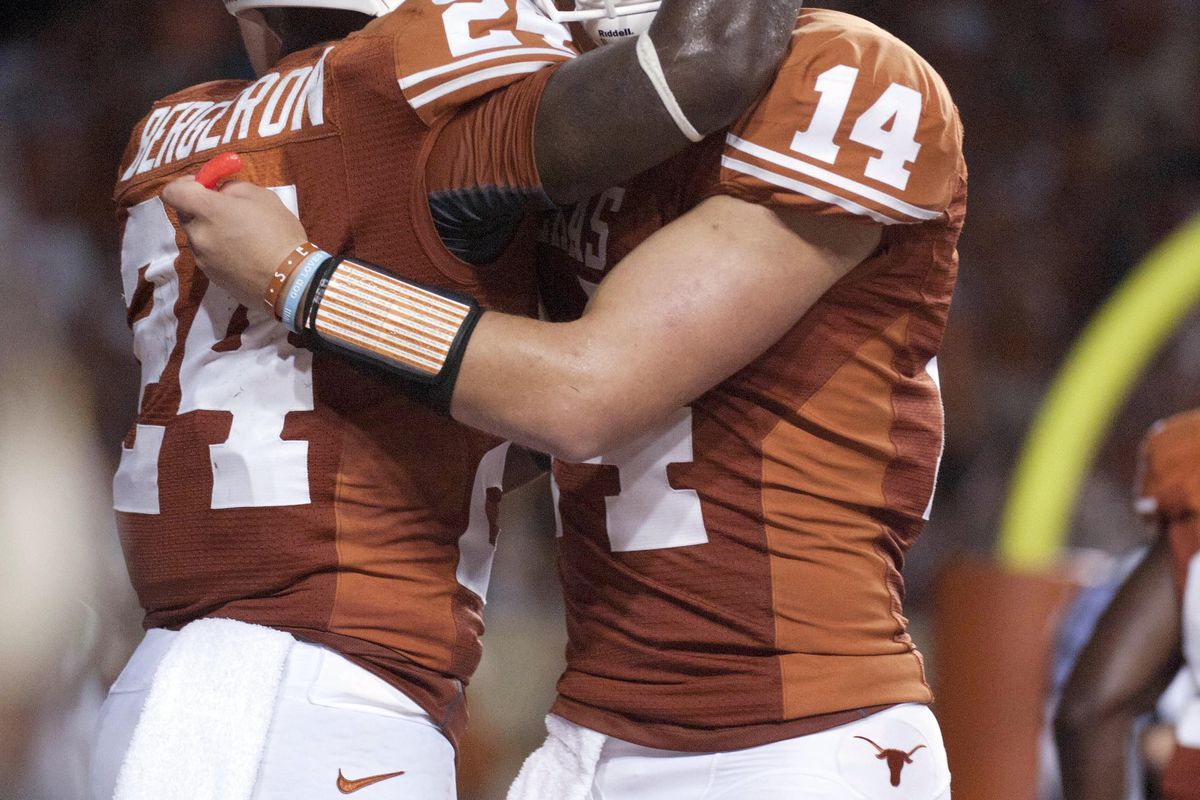 Comfort each other, Longhorn brethren - a 20-point win over a bowl-bound opening opponent is a fine thing. Mandatory Credit: Brendan Maloney-US PRESSWIRE