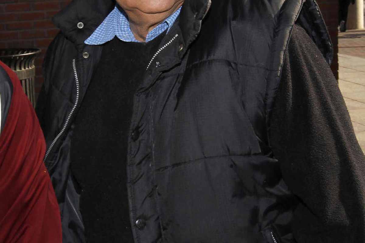 FILE - In this Dec. 19, 2011 file photo, Inocente Orlando Montano, a former Salvadoran military officer, arrives at federal court in Boston.  Montano, accused of colluding in the 1989 slayings of six Jesuit priests, admitted Tuesday, Sept. 11, 2012 in fed
