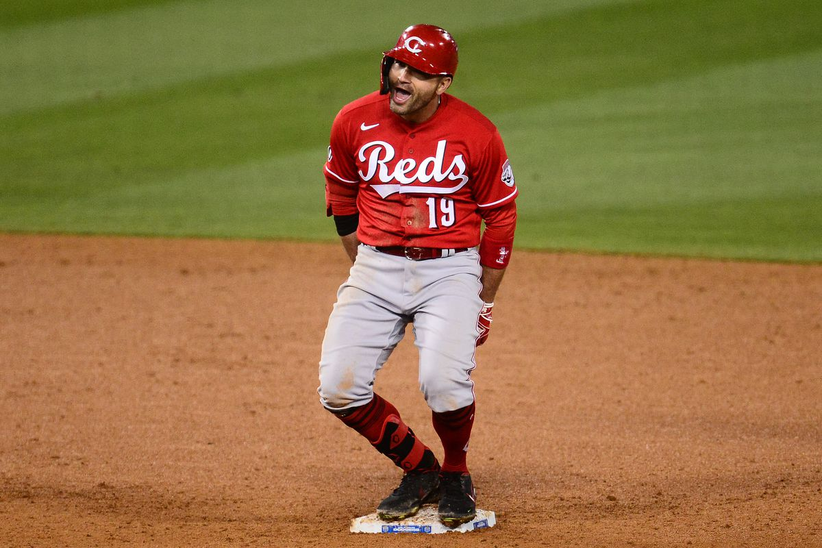 Cincinnati Reds first baseman Joey Votto reacts after hitting a two run RBI double against the Los Angeles Dodgers during the seventh inning at Dodger Stadium.