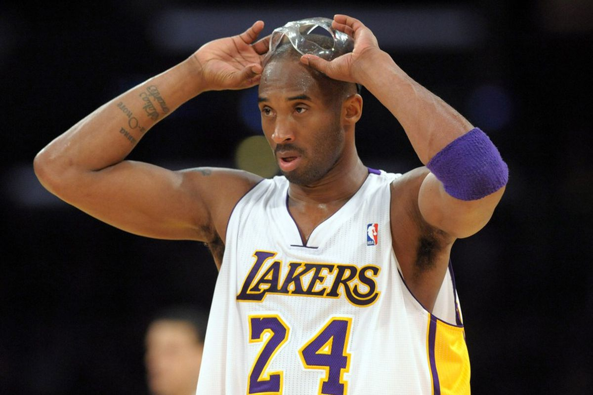 Mar 18, 2012; Los Angeles, CA, USA; Los Angeles Lakers guard Kobe Bryant (24) reacts during the game against the Utah Jazz at the Staples Center. The Jazz defeated the Lakers 103-99. Mandatory Credit: Kirby Lee/Image of Sport-US PRESSWIRE