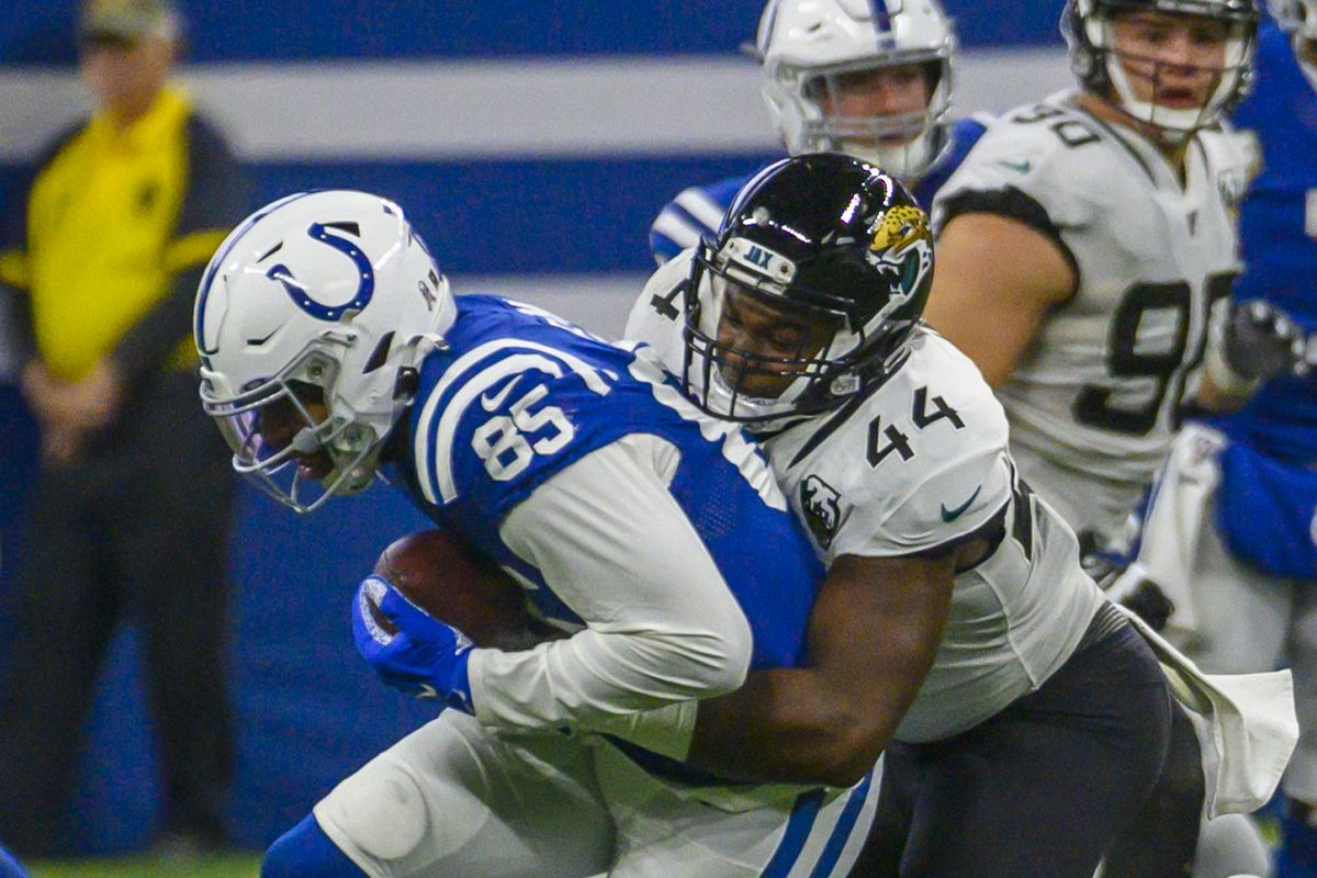 Eric Ebron of the Indianapolis Colts catches a pass in the second quarter of the game against the Jacksonville Jaguars at Lucas Oil Stadium on November 17, 2019 in Indianapolis, Indiana.