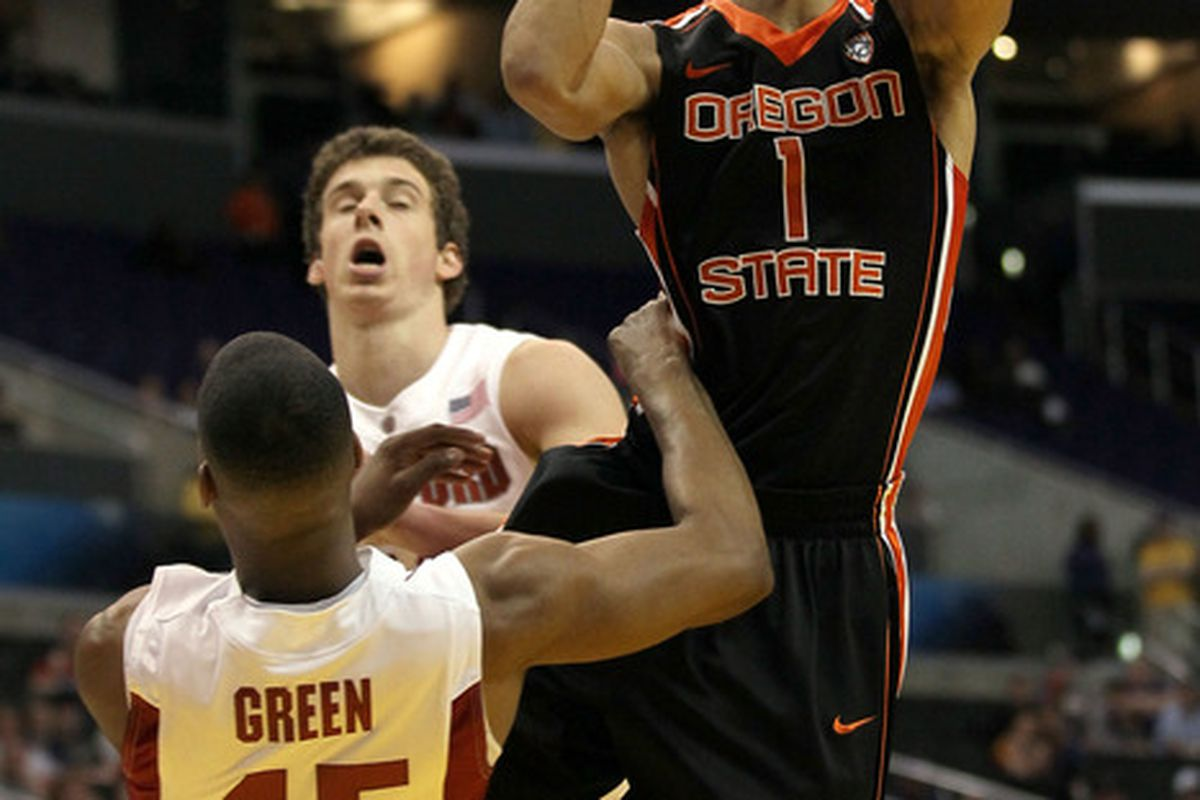 Jared Cunningham led the Beavers with 24 points as Oregon State advanced to the Pac-10 Tournament quarterfinals on Wednesday night. (Photo by Stephen Dunn/Getty Images)