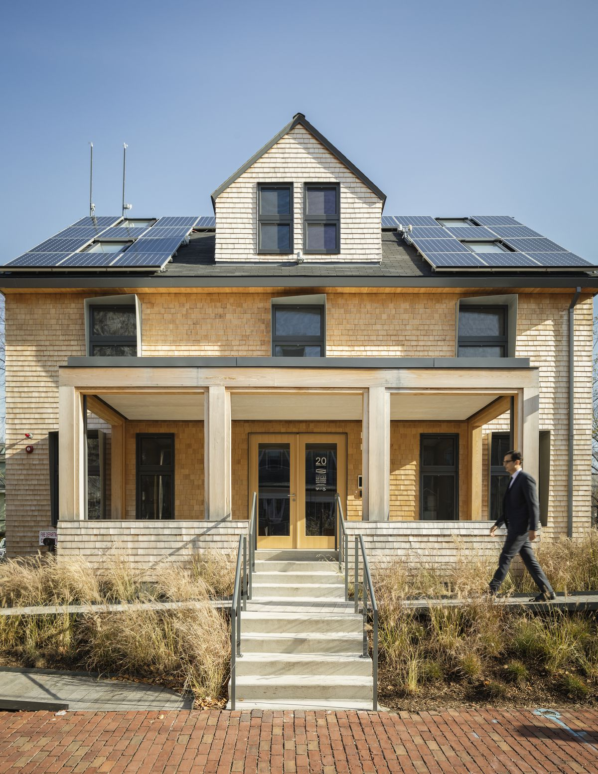 The front facade of HouseZero, a new demonstration project and office built by the Center for Green Building and Cities (CGBC) at Harvard University.